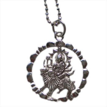 Victory Durga Necklace Silver with 16 inch ball chain