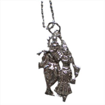 Absolute Truth Krishna Radha Necklace  Silver with 16 inch ball chain