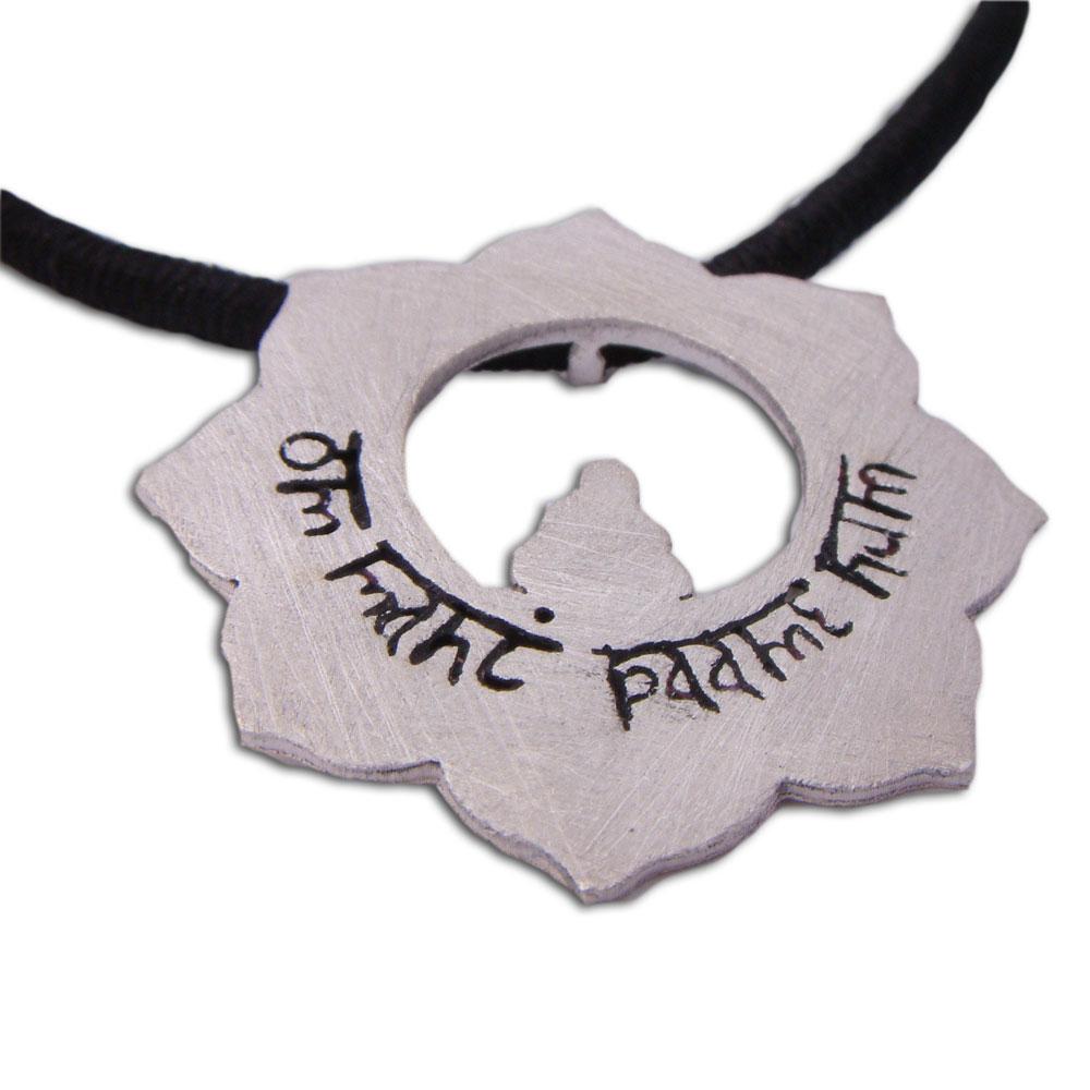 Om mani padme hum lotus necklace sale meditation jewelry all zoom buycottarizona