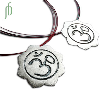 Om Lotus Necklace Brushed Matte 17 Inches color with Silver Clasp  SALE