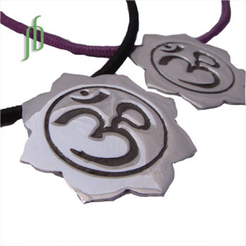 Om Lotus Necklace with Cotton Cord SALE
