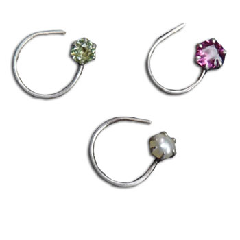 Silver Nose Stud Set of 3 pearl pink peridot