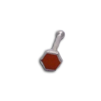 Silver Nose Bone Orange Hexagon