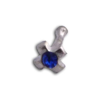 Silver Nose Ring Cross Blue