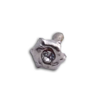 Silver  Nose Stud Triple Dolphin clear