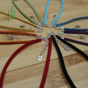 Faux Suede Color Necklace 16 to 17 inches Adjustable Silver Clasp