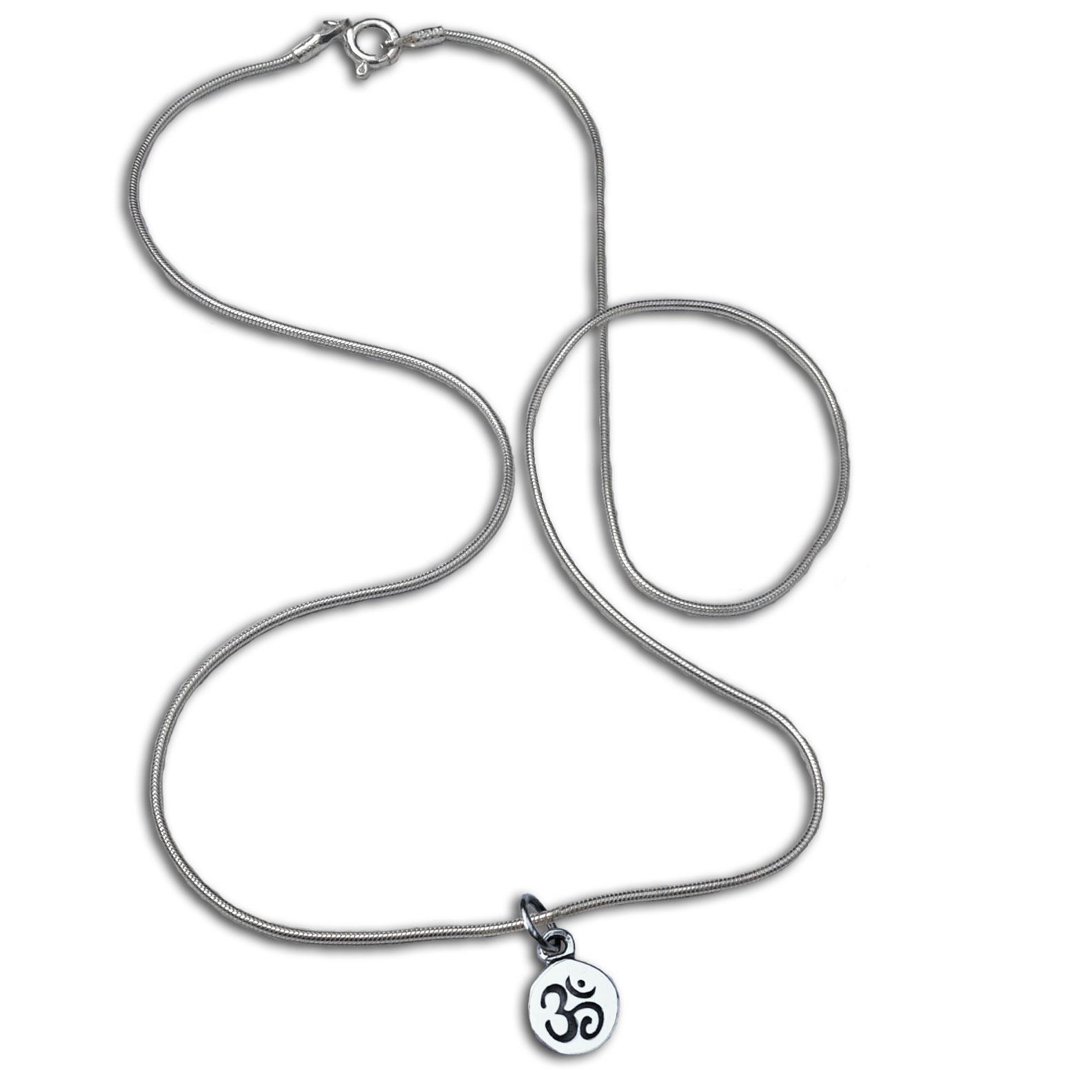 Om Symbol Necklace Silver 16 Inches Om Aum Jewellery Shanti