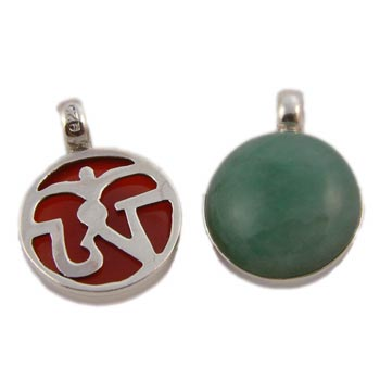 Tibetan Om Pendant with Stone Sterling Silver SALE
