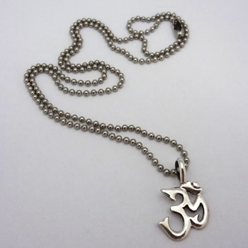 Om Necklace 20 Inches silver with base metal ball chain