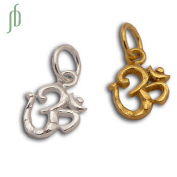Tiny Om Charm with 5 mm jump ring Sterling Silver or Gold Wash