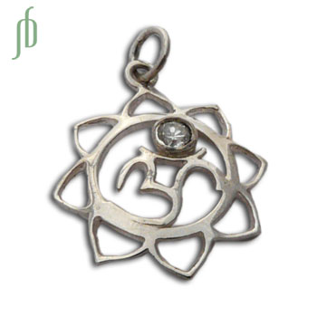 Om Lotus Pendant Charm with Stone Sterling Silver