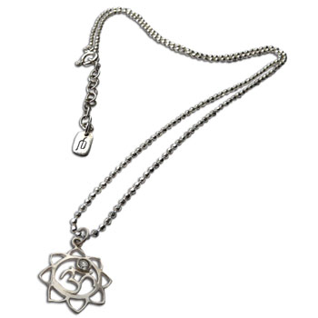 Om Lotus Pendant with Stone 16 to 17 Inches Necklace Adjustable Sterling Silver