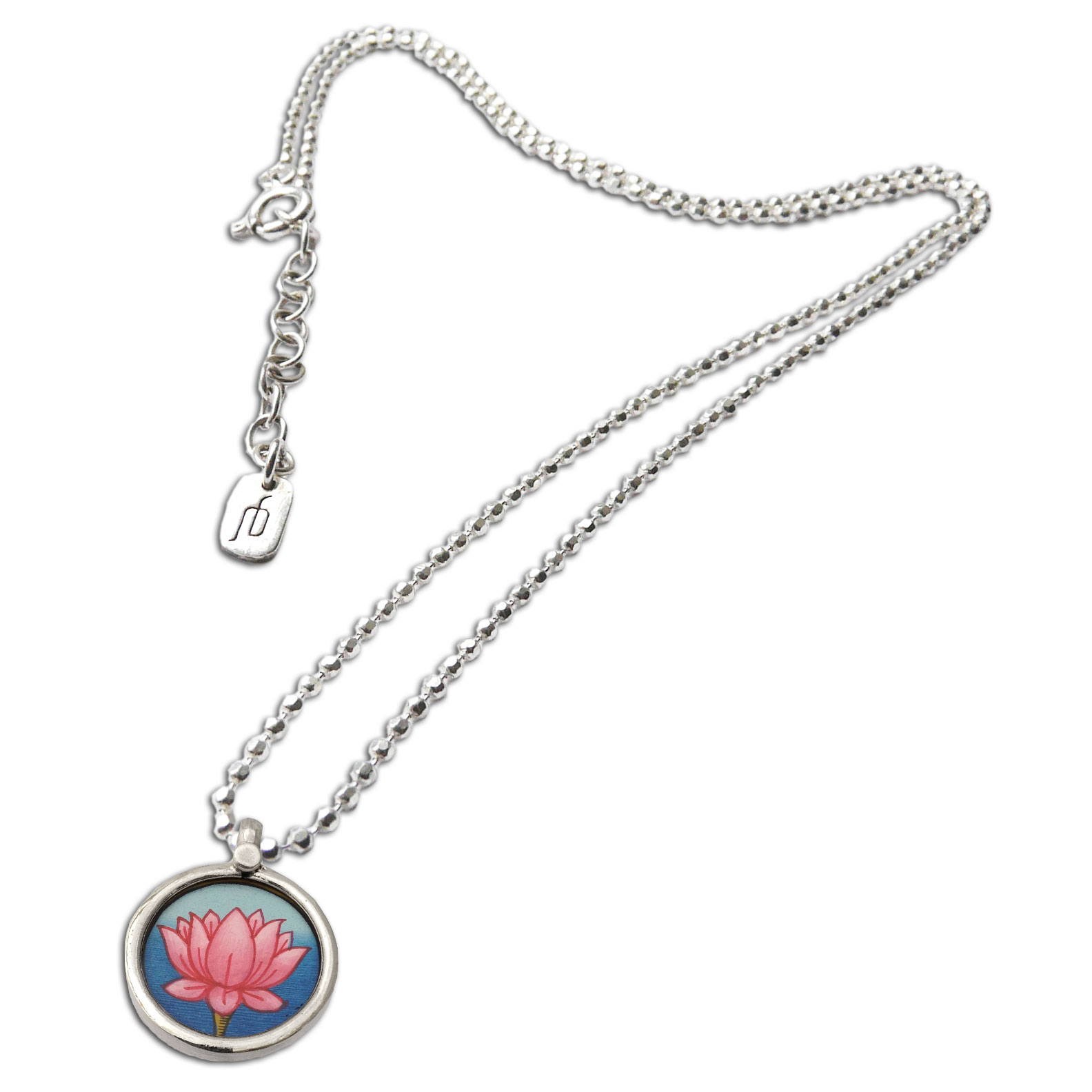 Lotus Painting Silver Necklace