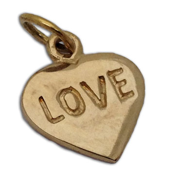 Love Heart Pendant Gold-tone Recycled Brass