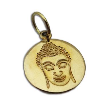 Buddha Pendant 15 mm Brass Round