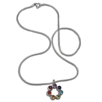 Charka Necklace: Circle of Happiness Sterling Silver & Semi-precious gemstones 16