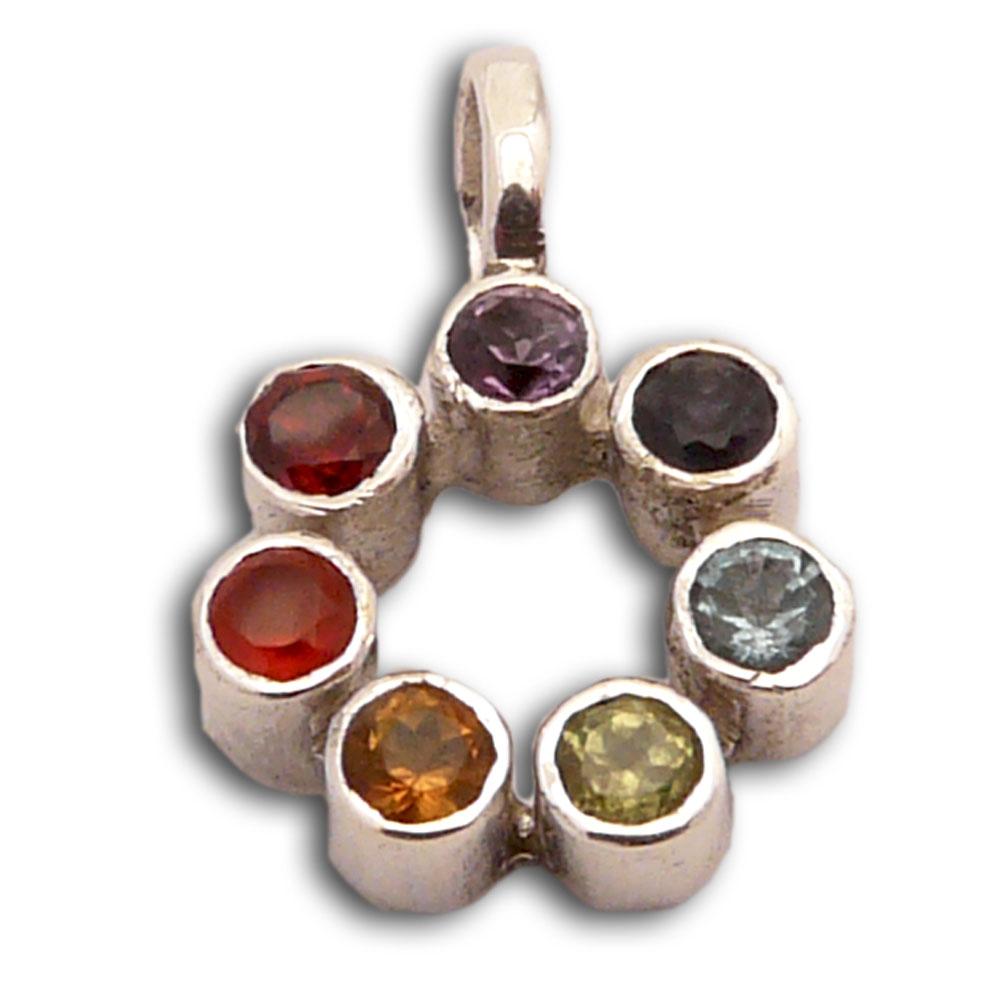 Mini Circle of Happiness Chakra Pendant Sterling Silver Gemstones