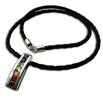 Seven Chakra Gemstones, Silver & Leather Necklace 18 Inches