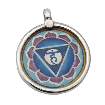 Throat Chakra Painting Pendant Silver