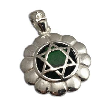 Good Vibes Heart Chakra Stone Pendant Silver