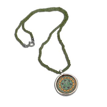 Heart Chakra Painting Peridot Necklace