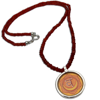 Sacral Chakra Painting Carnelian Necklace