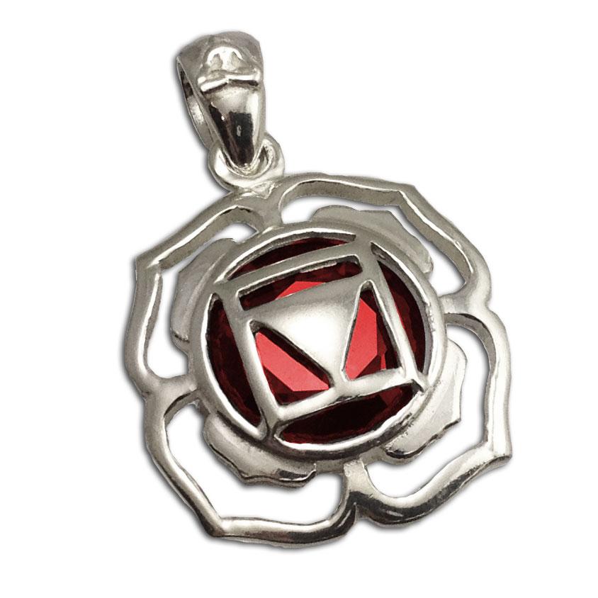 Root Chakra Stone Charm 2 cm Silver