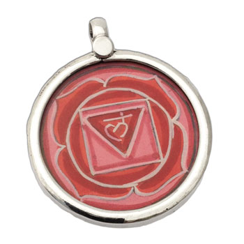 Root Chakra Painting Pendant Silver