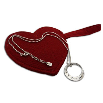 I Love You More Necklace with 16 to 17 Inches Diamond cut Ball Chain and Heart Bag