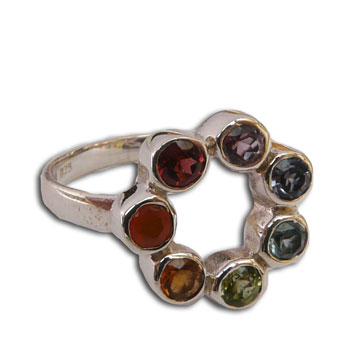 Chakra Ring Circle of Happiness Mini with 7 gemstones