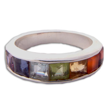 Rainbow Purity Chakra Ring Silver with seven gemstones