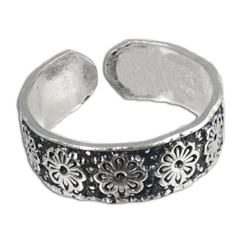 Toe Ring Silver Flowers