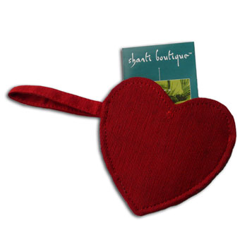 Heart Shaped Jewelry Bag Red Raw Silk with Hanging Loop